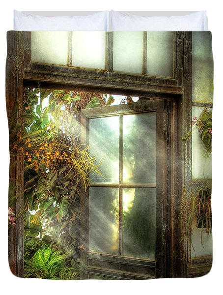 Greenhouse - The door to paradise Duvet Cover by Mike Savad