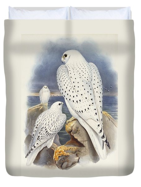 Greenland Falcon Duvet Cover by John Gould
