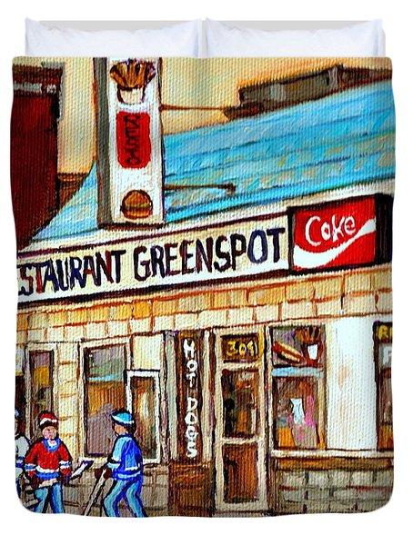 Greenspot Restaurant Notre Dame Street  South West Montreal Paintings Winter Hockey Scenes St. Henri Duvet Cover by Carole Spandau