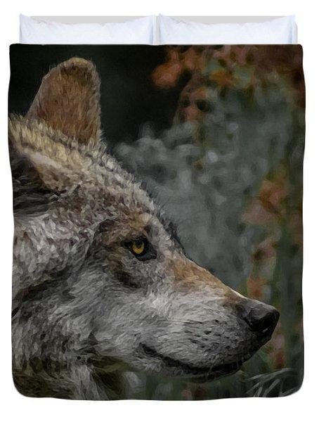 Grey Wolf Profile 3 Duvet Cover by Ernie Echols