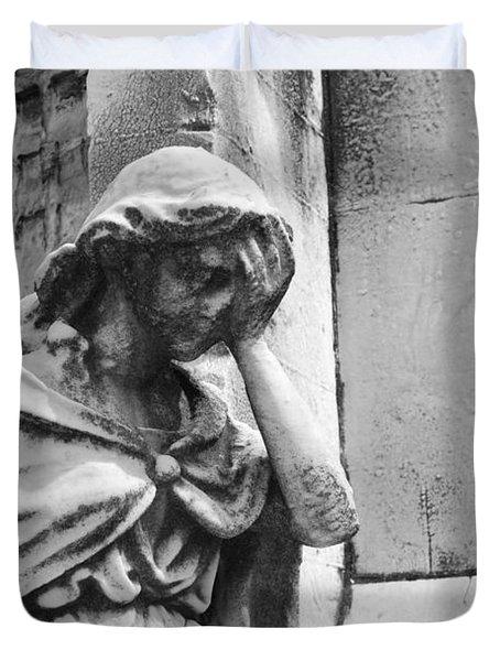 Grieving Statue Duvet Cover by Jennifer Lyon