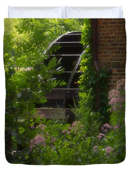 Grist Mill Wheel Vertical Duvet Cover by Thomas Woolworth