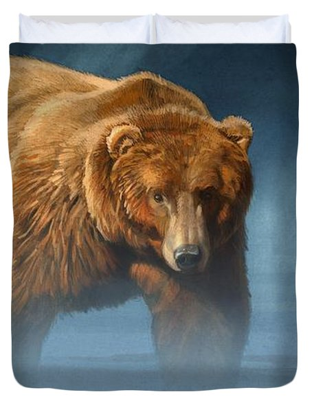 Grizzly Encounter Duvet Cover by Aaron Blaise