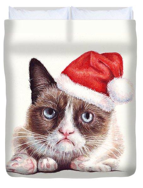 Grumpy Cat As Santa Duvet Cover by Olga Shvartsur