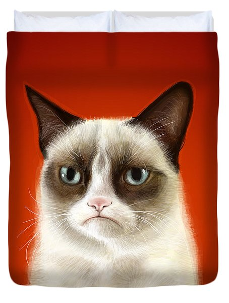Grumpy Cat Duvet Cover by Olga Shvartsur
