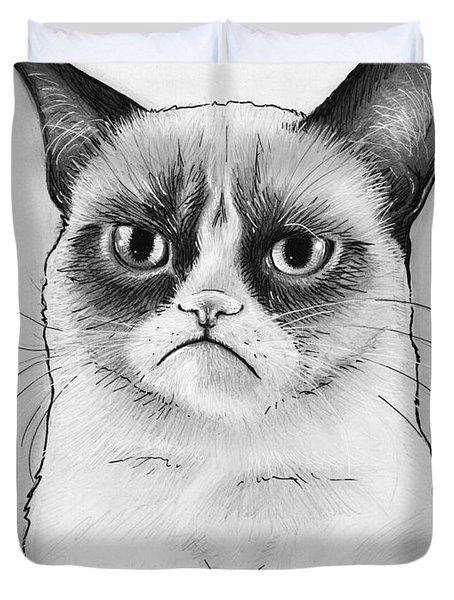 Grumpy Cat Portrait Duvet Cover by Olga Shvartsur