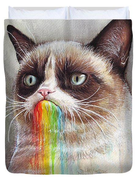 Grumpy Cat Tastes The Rainbow Duvet Cover by Olga Shvartsur