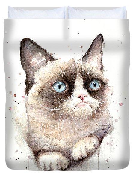 Grumpy Cat Watercolor Duvet Cover by Olga Shvartsur