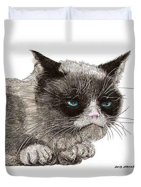 GRUMPY PUSSY CAT Duvet Cover by Jack Pumphrey