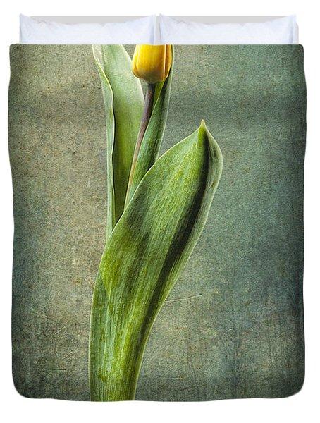 Grunge Yellow Tulip Duvet Cover by Erik Brede