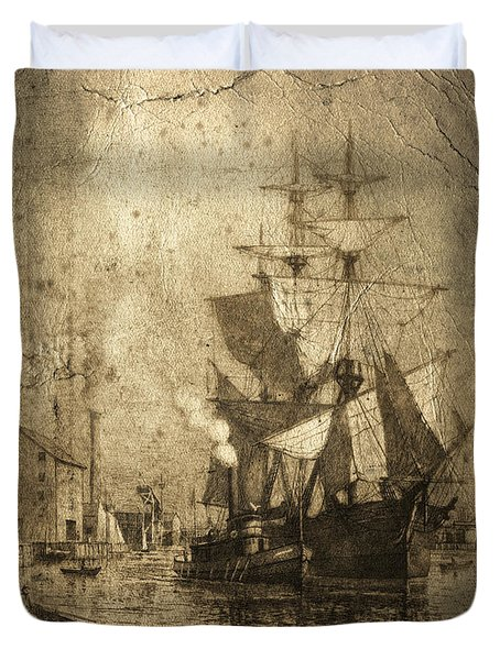 Grungy Historic Seaport Schooner Duvet Cover by John Stephens