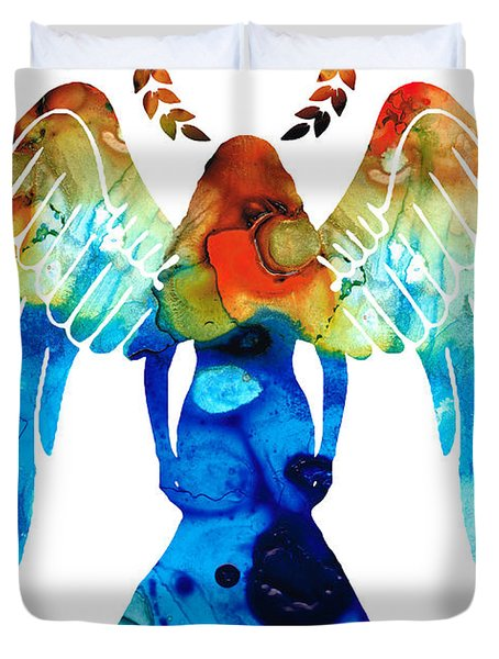 Guardian Angel - Spiritual Art Painting Duvet Cover by Sharon Cummings