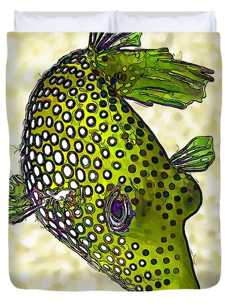 Guinea Fowl Puffer Fish In Green Duvet Cover by Bill Caldwell -        ABeautifulSky Photography