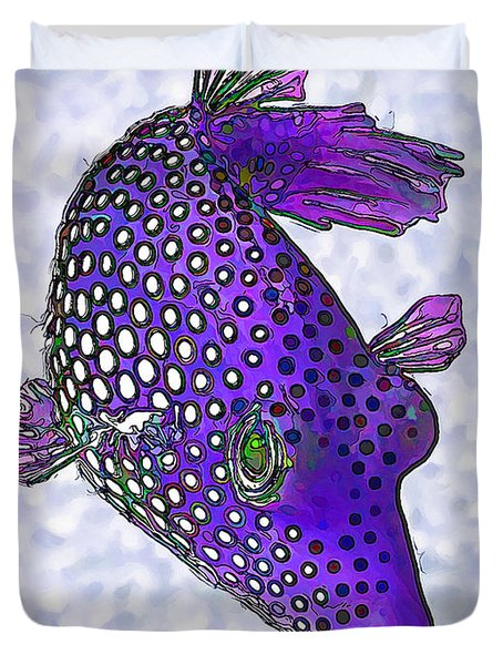 Guinea Fowl Puffer Fish in Purple Duvet Cover by Bill Caldwell -        ABeautifulSky Photography
