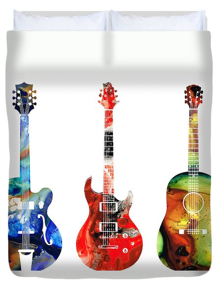 Guitar Threesome - Colorful Guitars By Sharon Cummings Duvet Cover by Sharon Cummings
