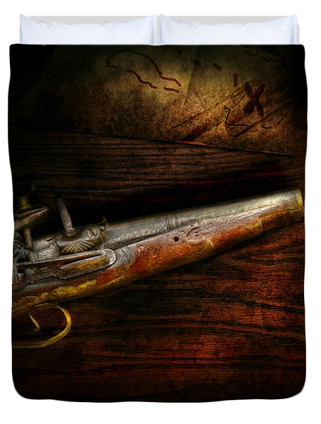 Gun - Pistol - Romance of pirateering Duvet Cover by Mike Savad