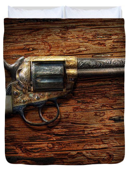 Gun - Police - True Grit Duvet Cover by Mike Savad