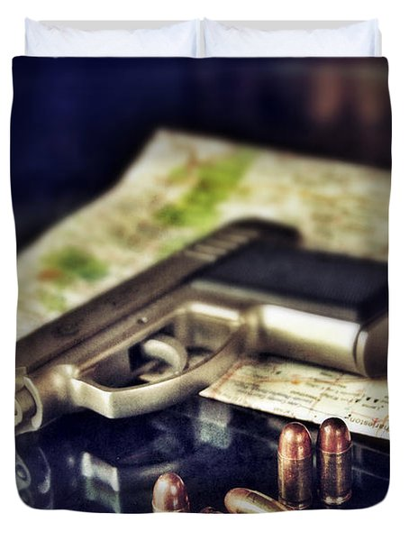 Gun With Bullets And Map Duvet Cover by Jill Battaglia