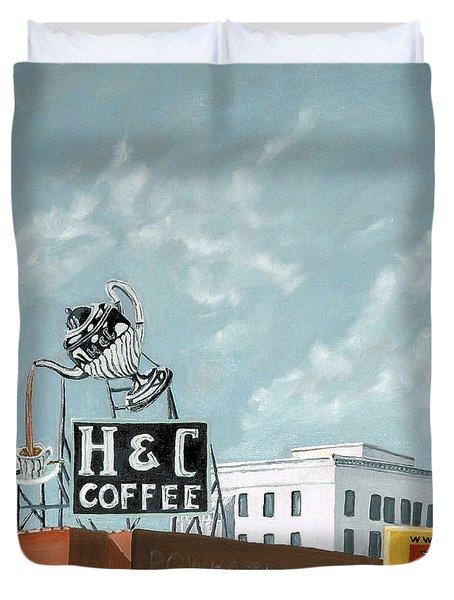 H And C Coffee Duvet Cover by Todd Bandy