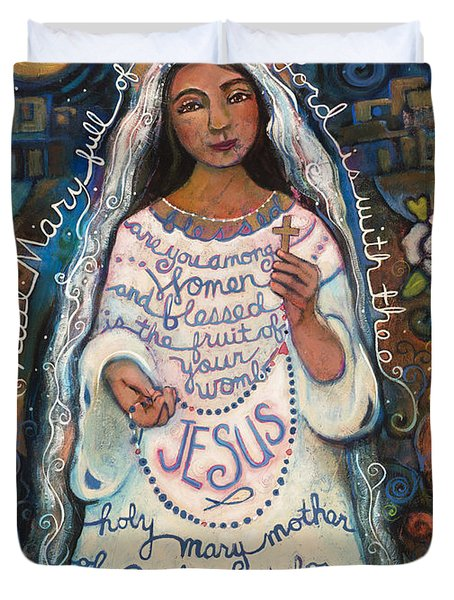 Hail Mary Duvet Cover by Jen Norton