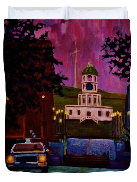 Halifax Night Patrol And Town Clock Duvet Cover by John Malone