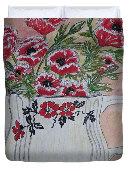 Hall China Red Poppy and Poppies Duvet Cover by Kathy Marrs Chandler