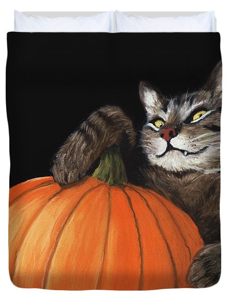 Halloween Cat Duvet Cover by Anastasiya Malakhova