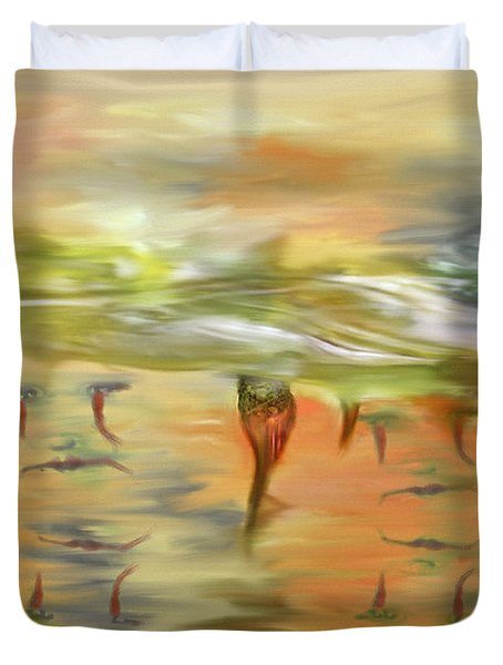 Halloween Clown Morning Tear Drops Reflection Duvet Cover by Angela A Stanton