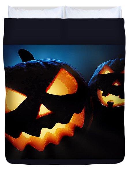 Halloween Pumpkins Closeup -  Jack O'lantern Duvet Cover by Johan Swanepoel