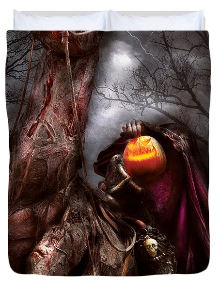 Halloween - The Headless Horseman Duvet Cover by Mike Savad