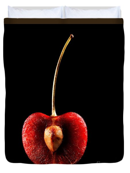 Halved Red Cherry Duvet Cover by Johan Swanepoel