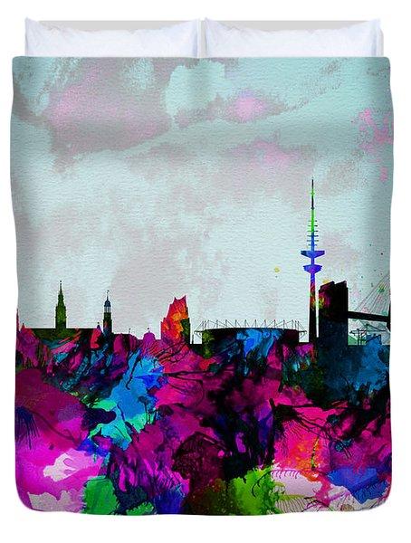 Hamburg Watercolor Skyline Duvet Cover by Naxart Studio