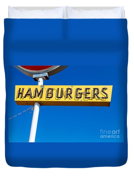 Hamburgers Old Neon Sign Duvet Cover by Edward Fielding