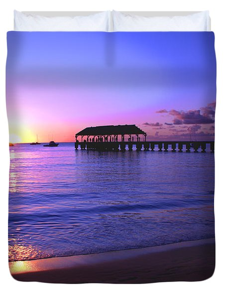Hanalei Bay Pier Sunset Duvet Cover by Brian Harig