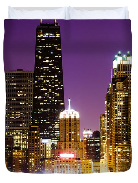Hancock Building At Night In Chicago Duvet Cover by Paul Velgos