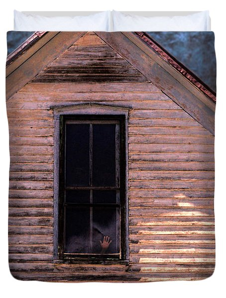 Hand In Window Duvet Cover by Jill Battaglia