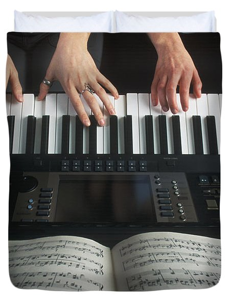 Hands On Keyboard Duvet Cover by Kelly Redinger