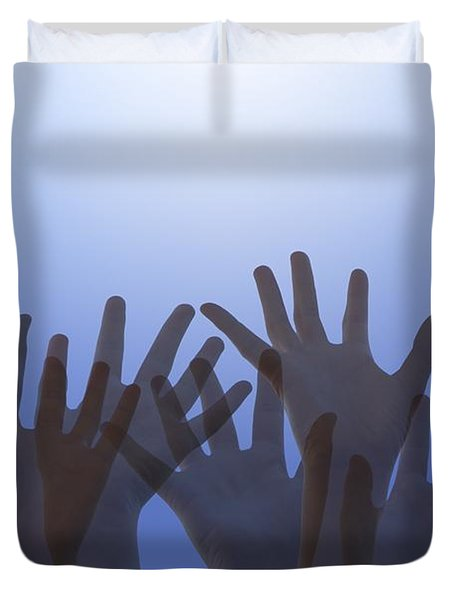 Hands Raised In Worship Duvet Cover by Colette Scharf