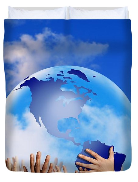 Hands Touching A Globe Duvet Cover by Don Hammond
