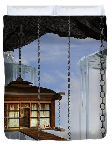 Hanging House Duvet Cover by Cynthia Decker