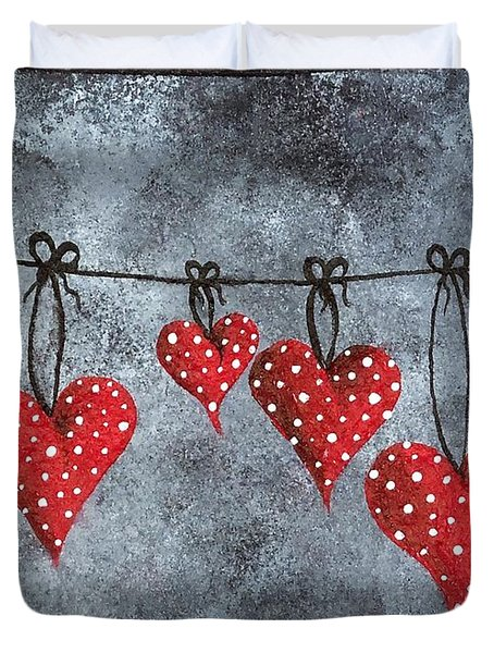Hanging On To Love Duvet Cover by Oddball Art Co by Lizzy Love
