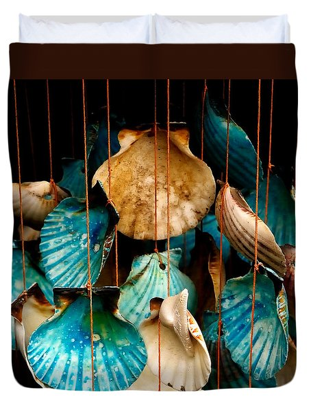 Hanging Together - Sea Shell Wind Chime Duvet Cover by Steven Milner