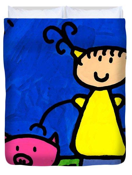 Happi Arte 1 - Girl With Pink Pig Art Duvet Cover by Sharon Cummings