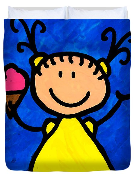 Happi Arte 3 - Little Girl Ice Cream Cone Art Duvet Cover by Sharon Cummings