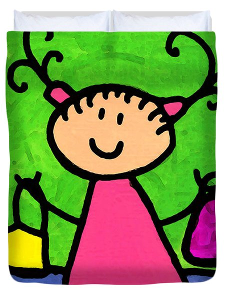 Happi Arti 5 - Shopaholic Little Girl Art Duvet Cover by Sharon Cummings