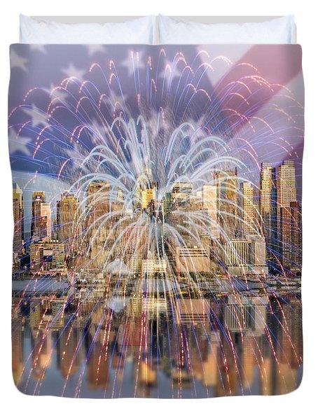Happy Birthday America Duvet Cover by Susan Candelario