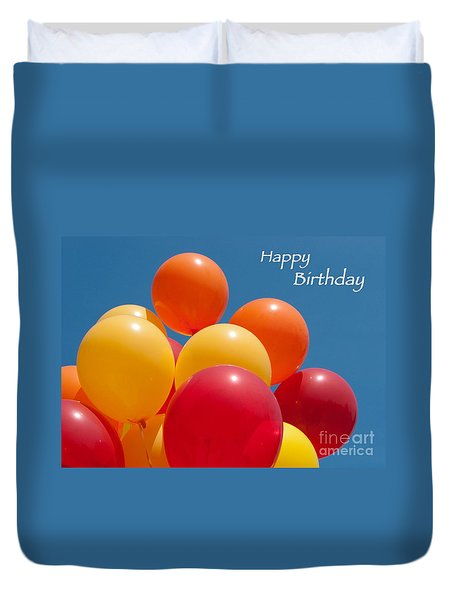 Happy Birthday Balloons Duvet Cover by Ann Horn