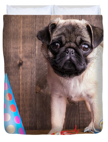 Happy Birthday Cute Pug Puppy Duvet Cover by Edward Fielding