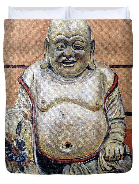 Happy Buddha  Duvet Cover by Tom Roderick