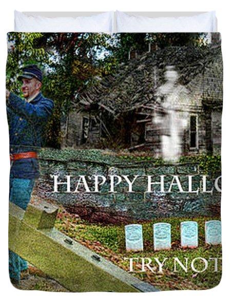Happy Halloween-try Not To Scream Duvet Cover by EricaMaxine  Price
